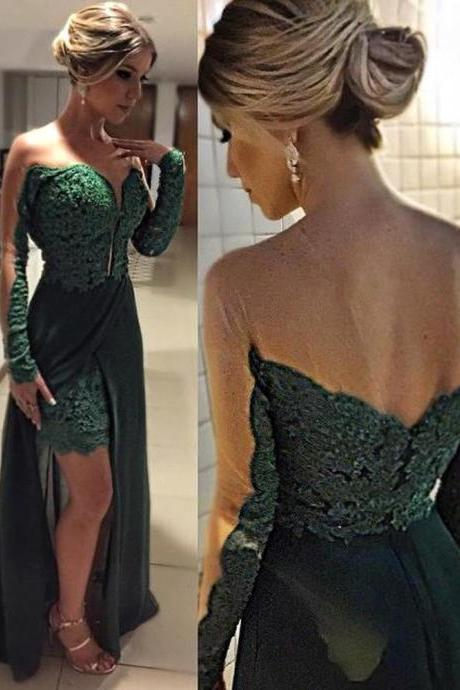 Graduation Dress, Charming Prom Dress, Elegant Long Sleeve Green Evening Dresses Skirt Long Lace Appliques Party Prom Gown,Graduation Dresses,Homecoming Dresses,A-line party dress, Prom Dresses,Wedding Guest Prom Gowns, Formal Occasion Dresses,Formal Dress
