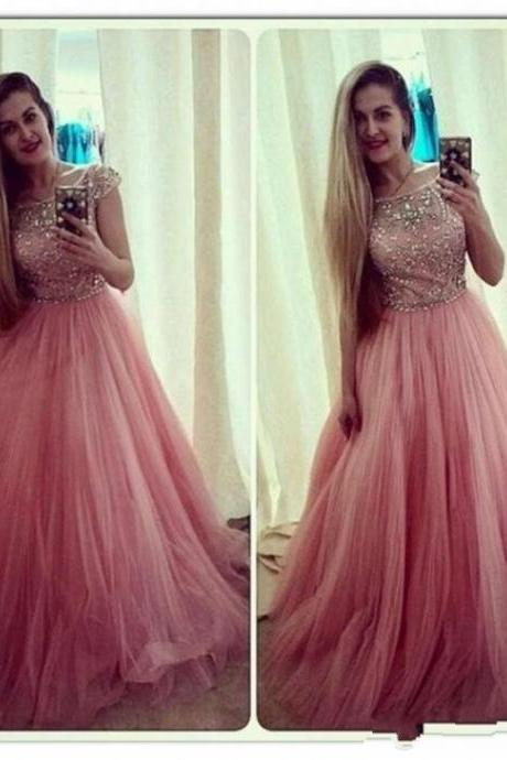 Peach Red Prom Dress, Shiny Beading Top Prom Dress, Cap Sleeves A-Line Prom Dress, Free Custom Made Prom Dress, Fashion Party Dress,Backless Party Dresses,Wedding Guest Prom Gowns, Formal Occasion Dresses,Formal Dress
