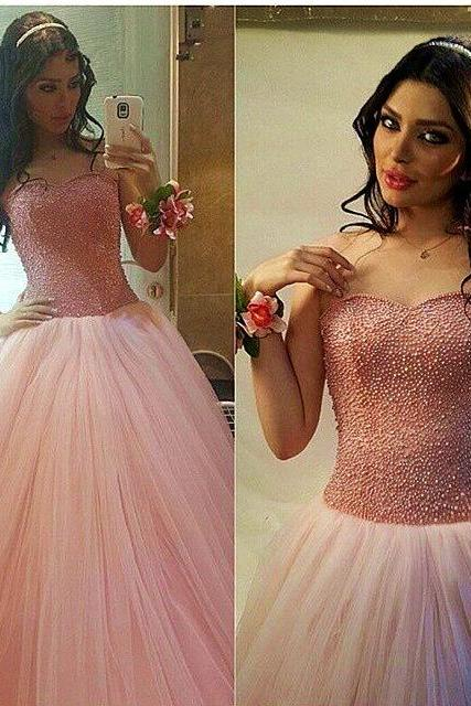 Prom Dress,Sexy Charming Prom Dress, Sweetheart Pearl Beading Puffy Princess Pageant Dresses Floor Length Tulle Ball Gown Prom Dresses,A-line party dress, Prom Dresses,Wedding Guest Prom Gowns, Formal Occasion Dresses,Formal Dress