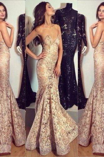 Lace prom dress, long prom dress, elegant prom dress, mermaid prom dress, sexy prom dress, inexpensive prom dress, evening dress, sweet heart prom dress,