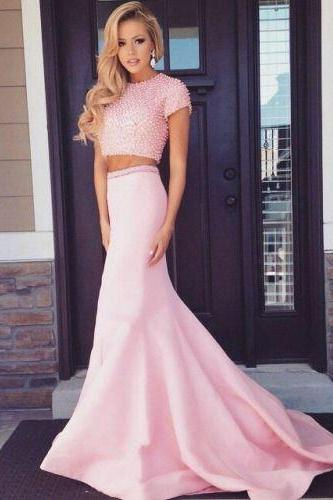 Pink prom dress, long prom dress, gorgeous prom dress, beaded prom dress, two pieces prom dress, short sleeve prom dress, evening dress, mermaid prom dress