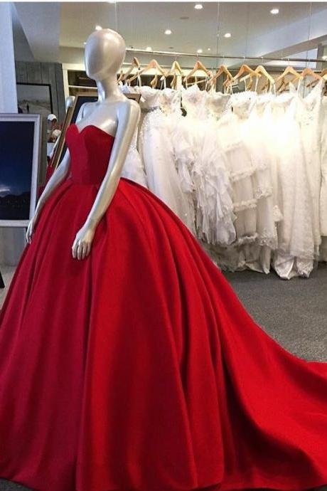Red Sweetheart Floor Length Prom Gown Featuring Train