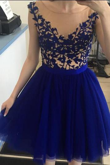 Popular homecoming dresses, royal blue homecoming dress with applique, junior prom dress, knee-length prom dress, best sale homecoming dress, 2016 homecoming dress, homecoming dress