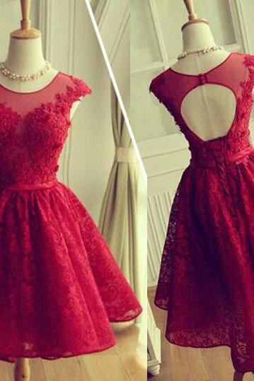 Red homecoming dress, junior lace up back cheap homecoming dress, lace prom dress, cap sleeve homecoming dress, open back prom dress