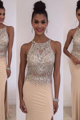 Long prom dress, champagne prom dress, sexy prom dress, charming prom dress, 2016 prom dress, split prom dress, evening party dress,