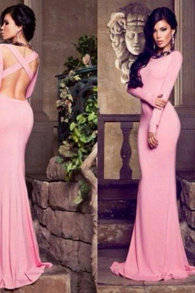 Long prom dress, cheap prom dress, simple prom dress, long sleeve prom dresses, backless prom dress, prom dress 2016, on sale prom dress, formal prom dress, sexy prom dress