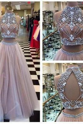 Two piece prom dress, long prom dress, pretty prom dress, open back prom dress, popular prom dress, sexy prom dress, charming prom dress, evening dress, junior prom dress
