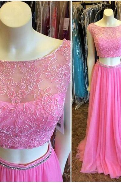 Long prom dress, pink prom dress, charming prom dress, elegant prom dress, cap sleeve prom dress, two piece prom dress, junior prom dress, evening dress