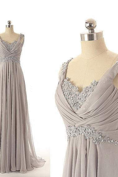 Grey Floor Length Chiffon A-Line Prom Dress Featuring Floral Lace and Ruched Plunge V Bodice