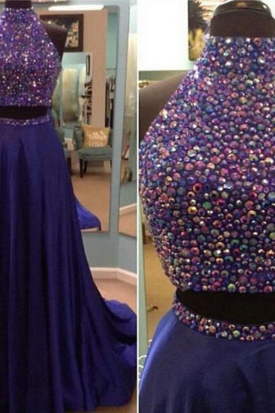Long prom dress, two piece prom dress, gorgeous prom dress, inexpensive prom dress, beading prom dress, elegant prom dress, evening dress,