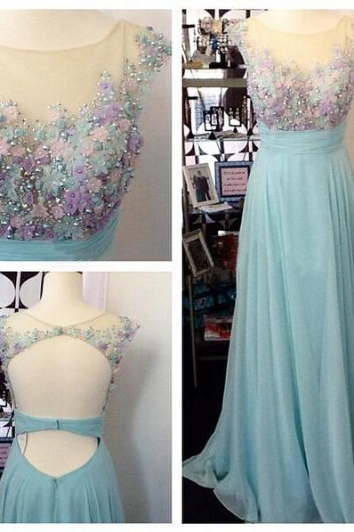 Long prom dress, junior prom dress, cap sleeve prom dress, open back prom dress, pretty prom dress, evening dress,
