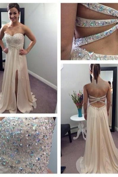 Long prom dress, champagne prom dress, sweet heart prom dress, sexy prom dress, open back prom dress, unique prom dress, evening dress