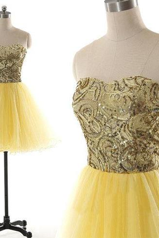 short prom dress, yellow prom dress, lovely prom dress, knee-length prom dress, homecoming dress, junior prom dress, cheap prom dress, occasion dress