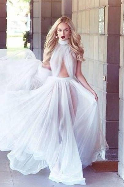 long prom dress, white prom dress, sexy prom dress, cheap prom dress, sleeveless prom dress, unique prom dress, evening dress