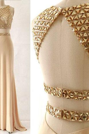 long prom dress, two piece prom dress, modest prom dress, gold prom dress, affordable prom dress, gorgeous prom dress, evening dress,