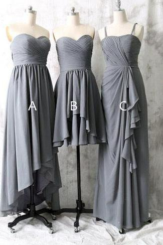 long bridesmaid dress, grey bridesmaid dress, mismatched bridesmaid dress, dress for bridesmaid, chiffon bridesmaid dress, cheap prom dress,