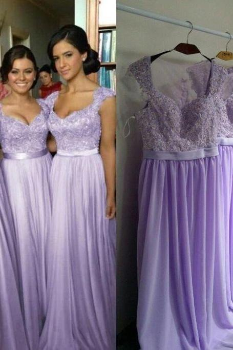 long bridesmaid dress, lilac bridesmaid dress, cap sleeve bridesmaid dress, 2017 bridesmaid dress, popular bridesmaid dress