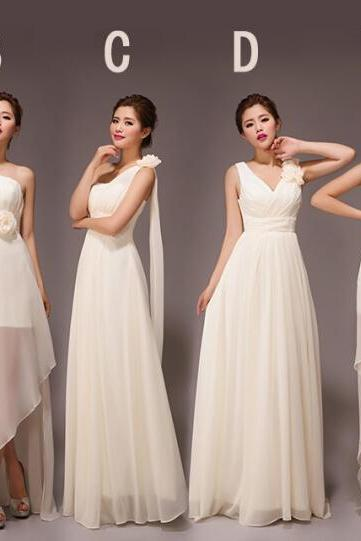 Custom Made White Chiffon Bridesmaid Dress, Mismatched Bridesmaid Dresses