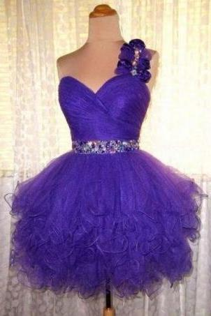 Cheap homecoming dress, one shoulder homecoming dress, purple prom dress, junior prom dress, party dress