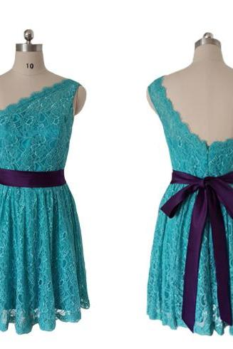 Blue One-Shoulder Lace Short Homecoming Dress, Graduation Dress