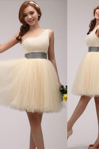 Champagne prom dress, beading prom dress, lovely prom dress, junior prom dress, one shoulder prom dress, homecoming dress,