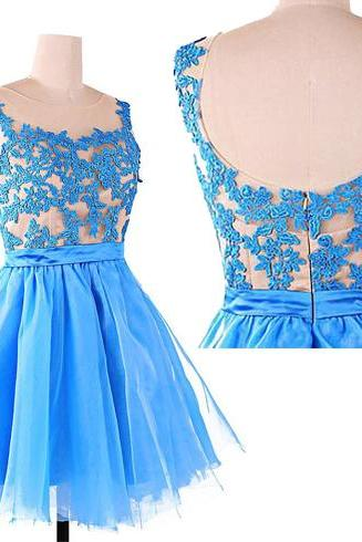 Lace prom dress, blue prom dress, cheap prom dress, short prom dress, simple prom dress, custom prom dress, party dress