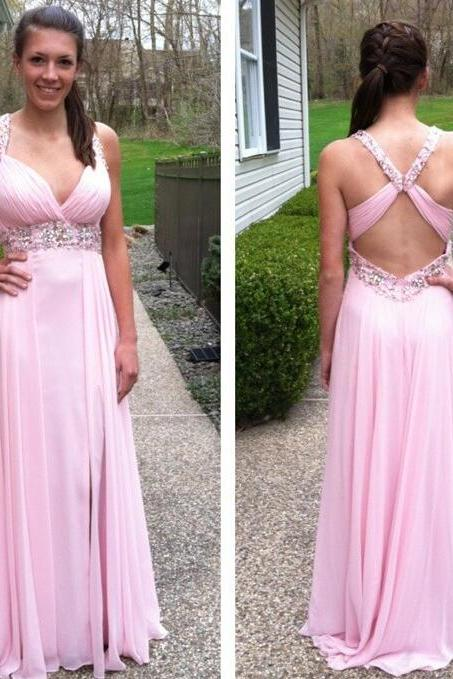 long prom dress, pink prom dress, backless prom dress, formal prom dress, affordable prom dress, elegant prom dress, evening dress