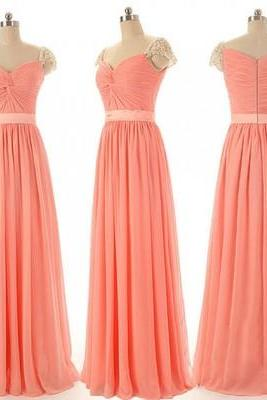 long bridesmaid dress, cap sleeve bridesmaid dress, sweet heart bridesmaid dress, 2015 bridesmaid dress, popular bridesmaid dress,