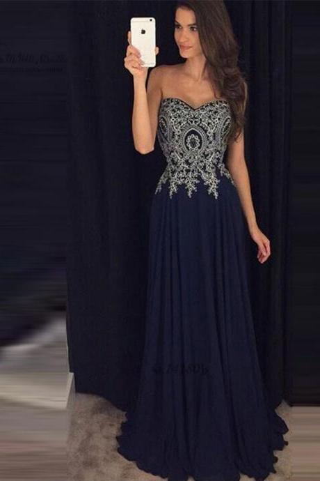 Navy Blue Prom Dress,Sweetheart Applique Prom Dresses,Long Evening Dress