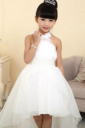 Flower Girl Dresses 2016 For Weddings Elegant Children's White Summer Long Trailing Girl Dress Party Dress For Girls