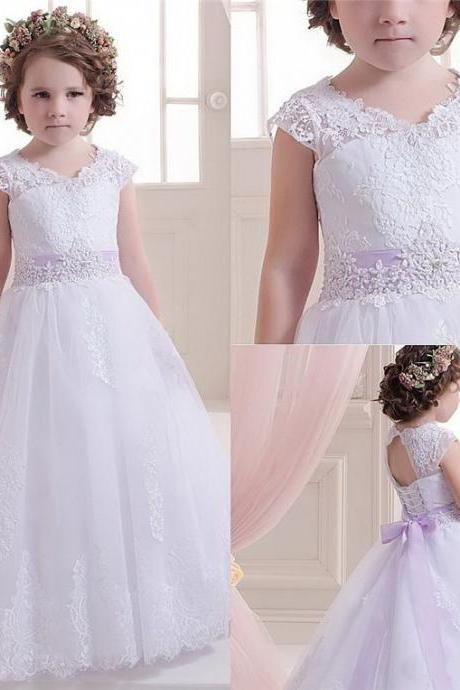 Children Dress,Flower Girls Dresses,Kids Dress,Child Clothing,Girl Brithday Party Dress,Princess Dress,Girl Party Dress,bridesmaid Dress Lace Tulle Cap Shoulder Applique Floor Length Dress Wedding Party Pageant Dress Princess Dress
