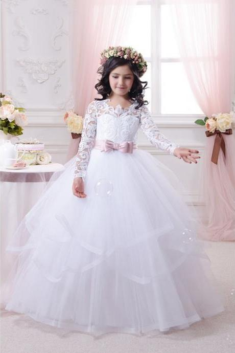 Children Dress,Flower Girls Dresses,Kids Dress,Child Clothing,Girl Brithday Party Dress,Princess Dress,Girl Party DressPink Sashes Princess Lace Flower Girls Dress With Long Sleeve Ball Gown Tulle First Communion Dresses