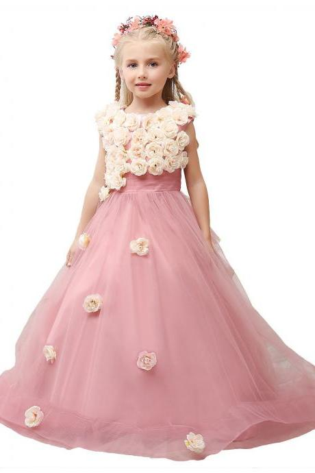 Flower girl dress.handmade flowers Flower girl dress,pink flower girl dress,princess flower girl dress,girls party dresses, girls christmas dresses, 2017 flower girl dress, girls first communion dress, junior bridesmaid dress,girls wedding party dress,girls pageant dress.