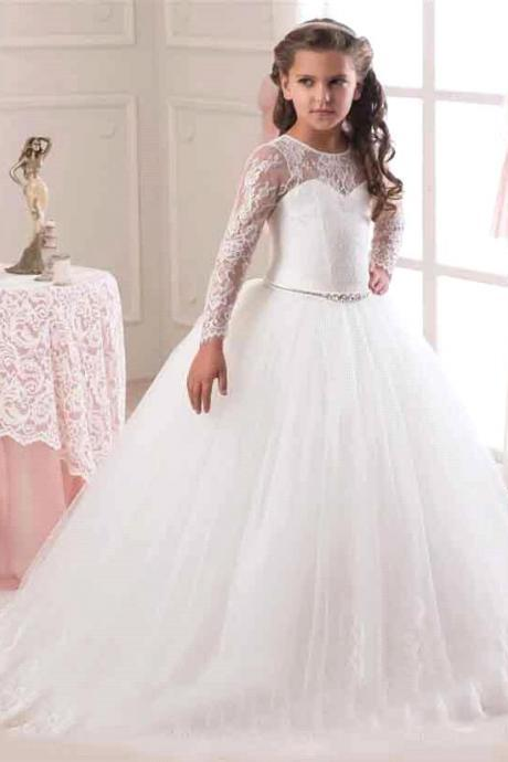 Hot Sale 2016 Long Sleeve Flower Girl Dresses for Weddings Lace First Communion Dresses for Girls Pageant Dresses White Ivory.White flower girl dresses. Flower girl dresses.