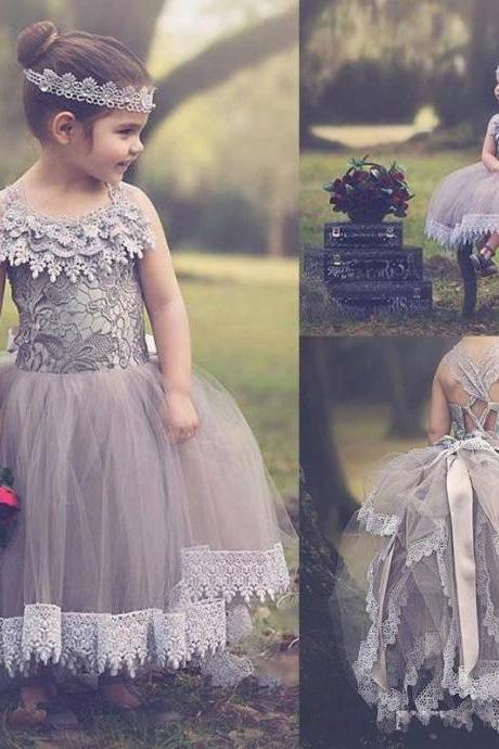 2016 Lace Flower Girl Dresses Kids Prom Dress Gray Tulle Communion Girls Pageant Ball Gowns Children Wears For Weddings.Criss-crock Back Girl Flower Dresses.Girl Flower Dresses