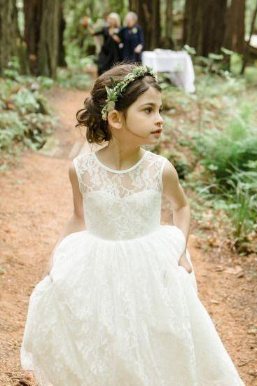2017 New Fashion Flower Girl Dresses .Flower Girl Dresses.White Flower Gril Dresses.White Lace Flower Girl Dresses