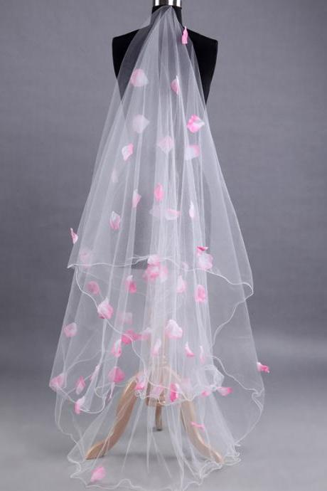 Long White Tulle Wedding Veil With Pink Rose Petals Bridal Veil