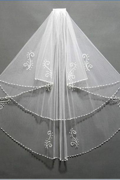 cheapWedding veil simple white/Ivory Wedding Veil Wedding tiara wedding veil/bridal veil/bridal accessories/head veil/tulle veil ,2T Bridal Beads Pearls Whith Comb WEDDING VEIL