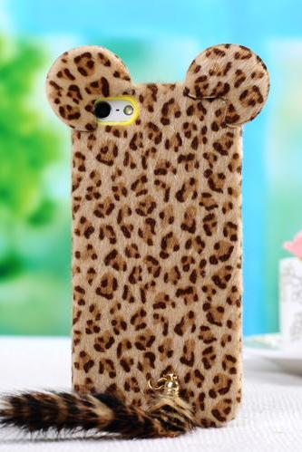 Funny Leopard Print iPhone 5 /5s 4/4sCases with Panther Tail