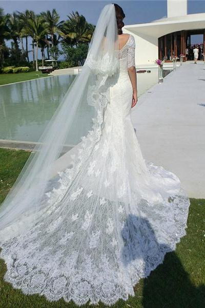 Wedding Dress,Lace Wedding Dress,2016 Wedding Dresses,Bridal Dress,Wedding Dress with Sleeves,Floor-length Wedding Dress,Mermaid Wedding Dress,Wedding Dress with Sweep Train