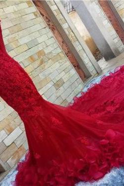 Latest design wedding dress, lace wedding dress2016 Sexy Red Mermaid Wedding Dress Bridal Gown Custovintage wedding dress, bride wedding gown, long wedding dress