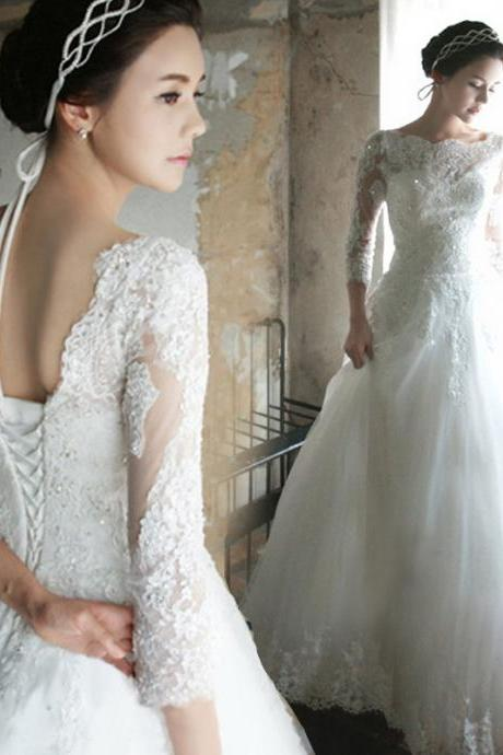 Latest design wedding dress, lace wedding dress Romantic Wedding Dress Half-Sleeve Wedding Dress Lace Wedding Dress Wedding Dress with Lace Up A-Line Wedding Dress, bride wedding gown, long wedding dress