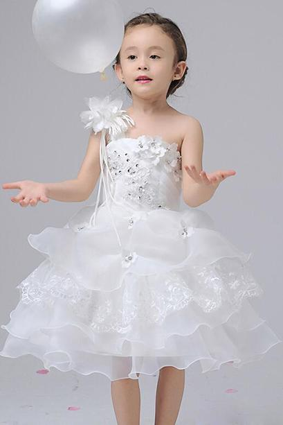 One Shoulder Short Baby Dress for Wedding Cute Tutu Flower Girl Dresses