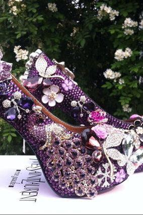 Bridal Shoes, Bridal, Women Peep Toe Shoes Lady Evening Party Club High Heel Dress ShoesPurple Peacock Rhinestone Crystal Flowers Wedding Shoes, Bridal Shoes, Bridal