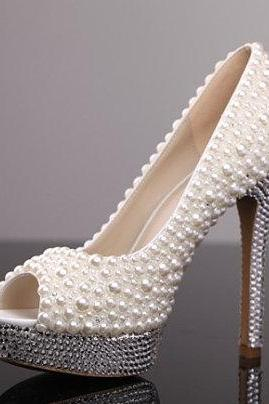Peep Toe Pearl Embellished Stiletto Pumps, Bridal Shoes, Prom Heels