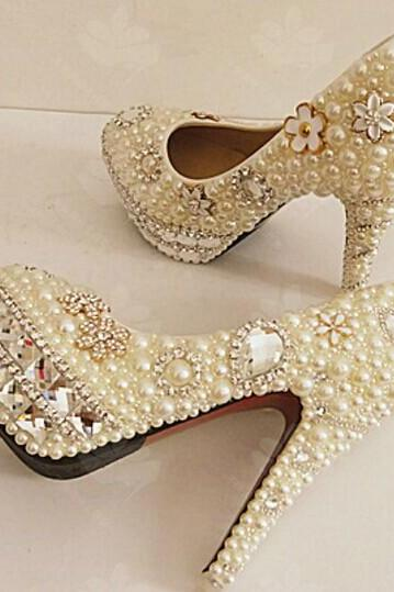 Pearl Wedding Shoes, Bridal Shoes, Bridal, Women Peep Toe Shoes Lady Evening Party Club High Heel Dress Shoes,Unique Pearl floral Dress Shoes Women Rhinestone Bridal Shoes Wedding High Heels Shoes Party Prom Shoes