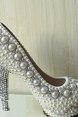 Pearl Wedding Shoes, Bridal Shoes, Bridal, Women Peep Toe Shoes Lady Evening Party Club High Heel Dress Shoes,Customized ivory Pearl wedding party Bling heels bridal shoes bridesmaid shoes crystal heels