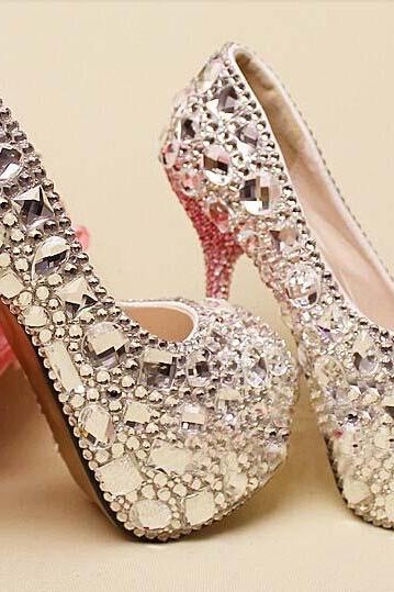 Clearl crystal Bridal Shoes gems high heels wedding shoes Sparkling peep Toes Nightclub party Shoes, Bridal Shoes, Bridal, Women Peep Toe Shoes Lady Evening Party Club High Heel Dress Shoes