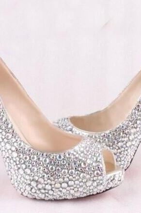 High Quality Luxurious White Rhinestone Wedding Shoes Crystal High Heel Shoes for Women Honeymoon red soles shoes, Bridal Shoes, Bridal, Women Peep Toe Shoes Lady Evening Party Club High Heel Dress Shoes