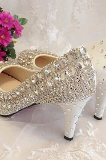 Pearl Wedding Shoes, Bridal Shoes, Bridal, Women Peep Toe Shoes Lady Evening Party Club High Heel Dress Shoes,Red bottom crystal Wedding Shoes High Heels Rhinestone Bridal Shoes Platform Pumps bridesmaid shoes